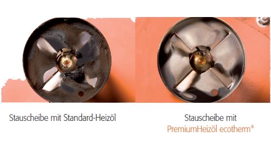 Stauscheibe Vergleich Premium und Standard Heizöl
